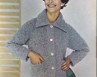 Grey Skies • 1960s Jacket Blazer Cardigan Pattern • 60s Vintage Knitting Patterns • Bulky Boucle Yarn Retro Knit PDF