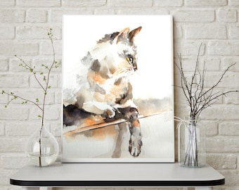 Cat fine art print, watercolor painting print, cat art, cat painting art, cat wall art print