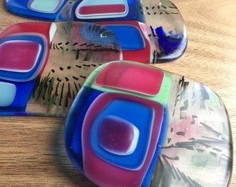 MCM Glass Coasters, Set of 4