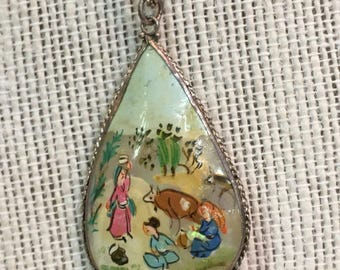 Vintage Hand Painted Double Sided Village Scene Pendant Necklace