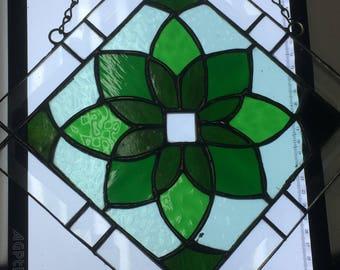 Green Geometric Diamond Stained Glass