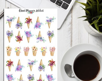 Watercolour Flowers Ice Cream Planner Stickers   Watercolour Stickers   Floral Stickers   Ice Cream Stickers   Floral Bouquets (S-245)