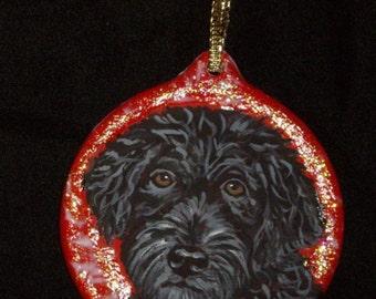 Portuguese Water Dog Custom Painted Ceramic Christmas Ornament Decoration