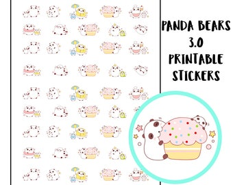 Panda Bears Daily Life 3.0 Stickers for Planners   Kikki K   Filofax   Happy Planner   Erin Condren