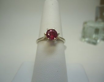 Round Cut Ruby Ring in Sterling Silver   #961