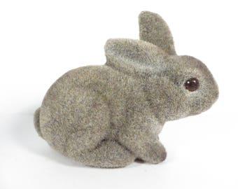 Vintage Flocked Easter Bunn7 - Fuzzy Flocked Easter Rabbit - Brown Felted Rabbit