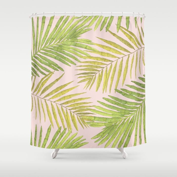 Shower Curtain - Palms Against Blush - Pink Green Yellow - 71x74 ...