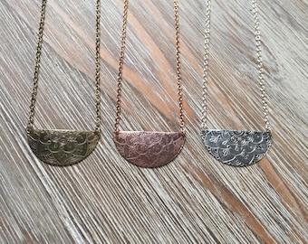 Half Moon Pendant Necklace, Stamped, Textured, Acid Etched