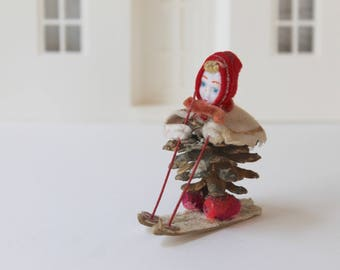 Vintage Small Pinecone Girl Skier Figure Ornament, Vintage Girl on Skis Christmas Decor