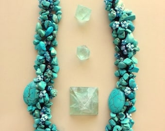 Chunky Turquoise And Blue Beaded Necklace