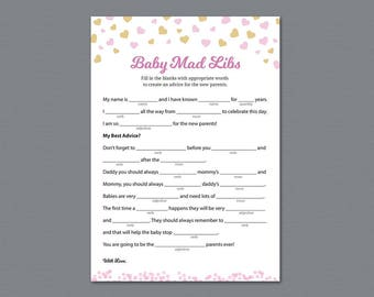 Mad Libs Baby Shower Game Printable, Girl Baby Shower Activity, Mad Libs, Pink Gold Heart Confetti, Advice for Mommy, Instant Download, B003