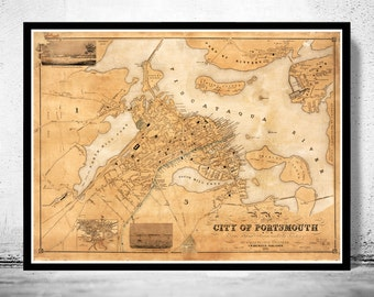 Vintage map of Portsmouth New Hampshire 1850