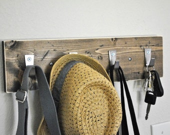 Distressed Wood Coat Rack - Coat Hooks - Hat Rack - Key Hooks