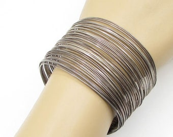 925 sterling silver - vintage stacked wire 50mm cuff bracelet - b1155