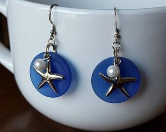 Blue Glass & Starfish Earrings/Sterling Silver Earwires