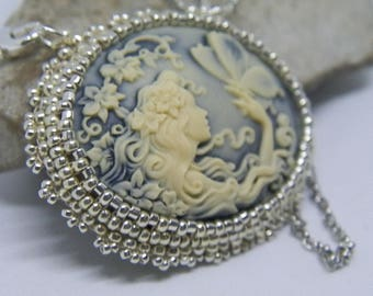 Weaving needle cameo woman and Butterfly Necklace