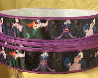 5 YDS Purple Little Mermaid Ursula Ribbon