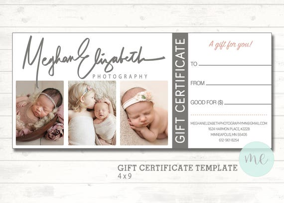 Photographer Gift Certificate Template Gift Card Gift