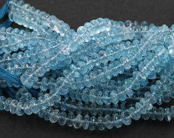 Natural blue topaz faceted gemstones Roundels, 6-8 mm, 1 Full Strand, 6 Inches (TPZB/FRNDL/6-8)