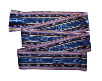 Midnight Blue Sash, SA52 - Pirate Belt - Guatemalan Textiles - Reenactment Clothing - Ikat Fabric - Bohemian Belt - Woven Sash