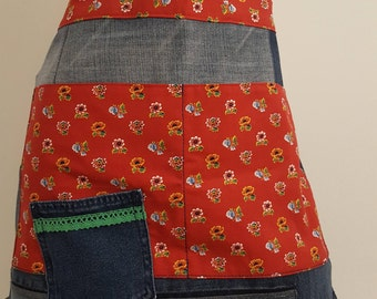Half-apron made of jeans with floral fabric
