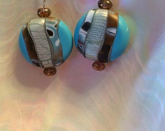 Turquoise polymer clay earrings in sterling silver