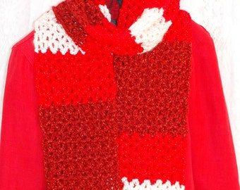 Candy Cane Crochet Red, Burgandy, and White Scarf