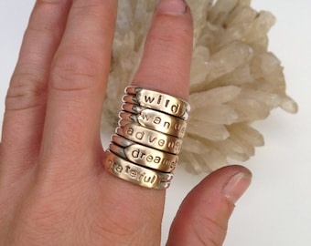 w a n d e r Wordsmith Band Handmade with .925 Sterling Silver & Brass Handmade Jewelry Ring Size 6.5-7 Slightly Adjustable