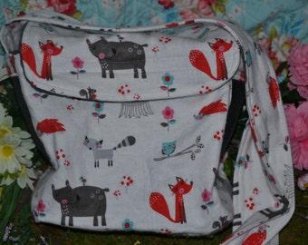 Happy hedgehog bag (grey forest animal fabric)