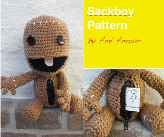Sackboy pattern crochet amigurumi open mouth zipper dt1010fo
