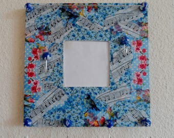 Wall Organizer naive style in shades of blue and pink