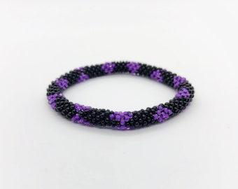 Roll On Bracelet - Purple Black - Beaded Bracelet - Handmade - Boho Bracelets
