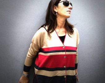 Complete in pure merino wool,/grigio/beige red tones