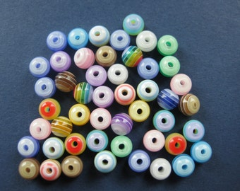 100 Striped Beads - Resin Beads - Spacer Beads - Round Beads - Colorful Beads - 6mm  -- (No.35-10089)