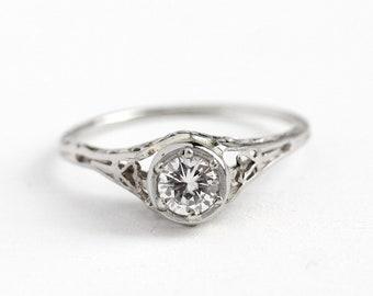 Filigree Engagement Ring - Vintage 18k White Gold Art Deco .35 CT Diamond Solitaire - 1920 Size 6 1/2 Antique Bridal Open Metal Fine Jewelry