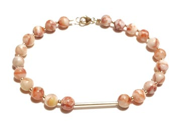 9ct Gold and Marble Beaded Bracelet