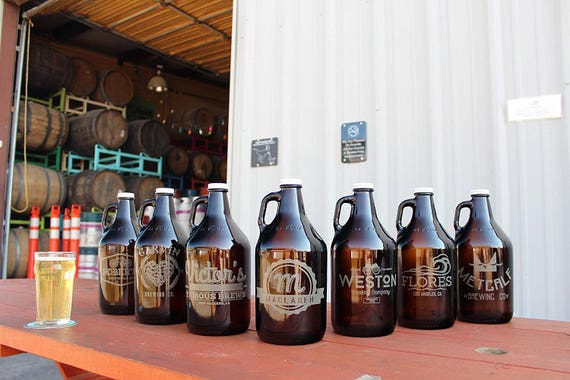 I think my old man needs a SET of these personalized growlers for Father's Day...