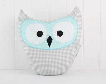 Gray and Blue Owl Pillow, Pastel Owl Plush, Plaid Owl Pillow, Owl Plushie, Nursery Gift, Nursery Pillow