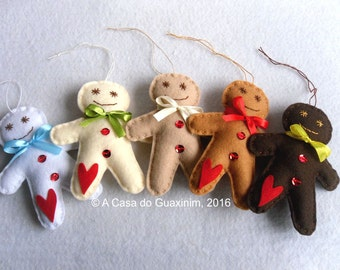 Set of 5 Gingerbread Man - Christmas ornaments