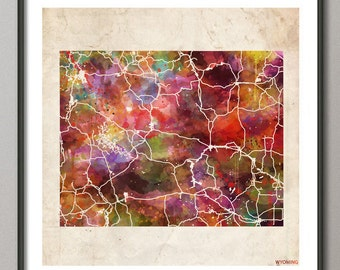 WYOMING Map, Map of Wyoming, State,  Poster, Watercolor painting, Modern Abstract, Poster Print, Wall Art, Home Decor, Decoration