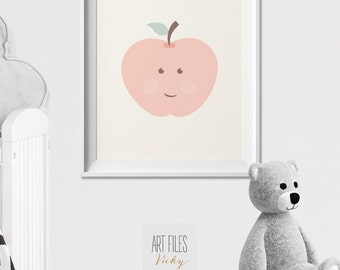 Apple nursery Art Print, Poster, Modern nursery print, Pastel, Nursery wall Art, Kids decor, fruit print, pastel, nursery art, ArtFilesVicky