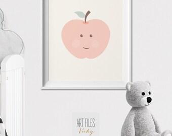 Apple nursery Art Print, Poster, Modern nursery print, Pastel, Nursery wall Art, Kids decor, fruit print, pastel, nursery art, ArtFilesVicky