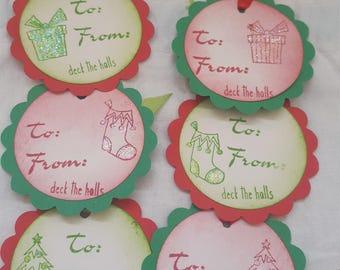 Set of 6 Red and Green Christmas themed ribbon gift tags Destash Holiday tags Xmas tags