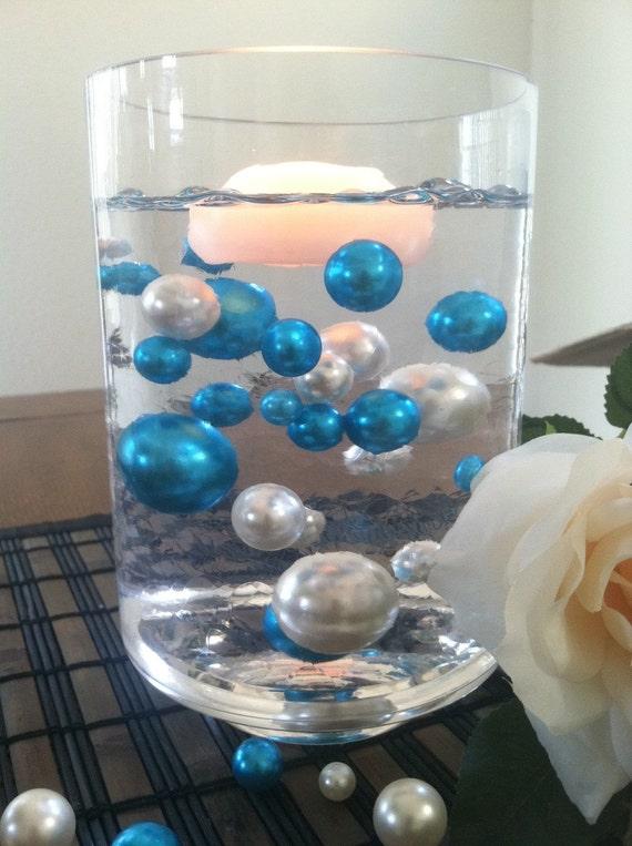 Elegant Teal Blue Ivory Floating Jumbo Pearls Vase