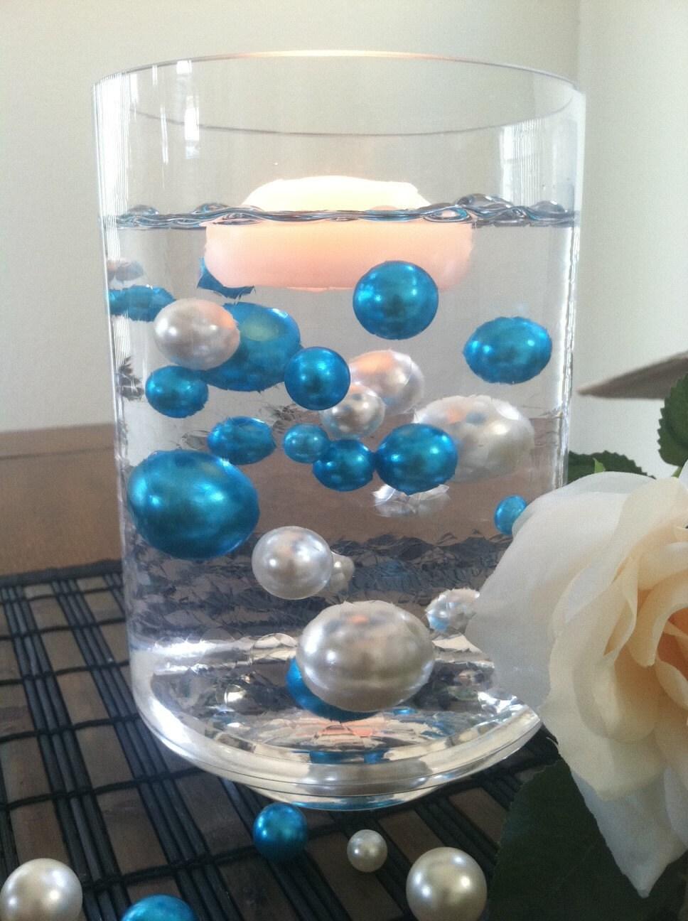 Elegant teal blueivory floating jumbo pearls vase zoom reviewsmspy