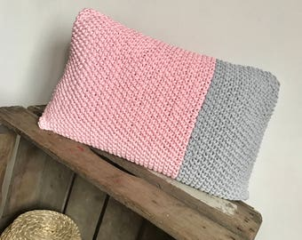 Pink and gray two-tone knit pillow