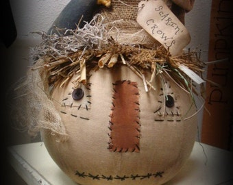 Primitive Scarecrow Head with Crow