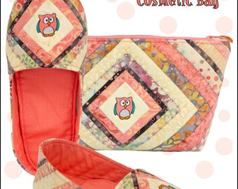 Mama Bear Slippers & Cosmetic Bag Pattern Includes  7 Free Embroideries, but can be made with Cute Buttons, or Fussy Cutting Fabrics