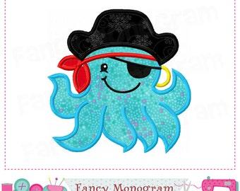 Pirate captain,Octopus applique,Pirate applique,Boys applique,Octopus design,Pirate Octopus,Pirate,Octopus,Pirate Octopus.-03