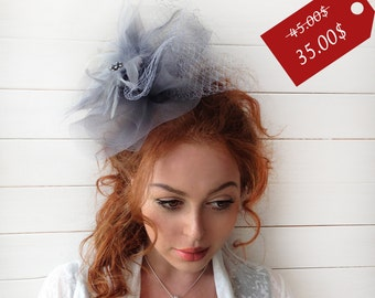 """Gray Fascinator - """"Aria"""" Couture British Hat Fascinator Headband with Feathers - Tea Party Hat -  Kentucky Derby Hat - Wedding Hat"""